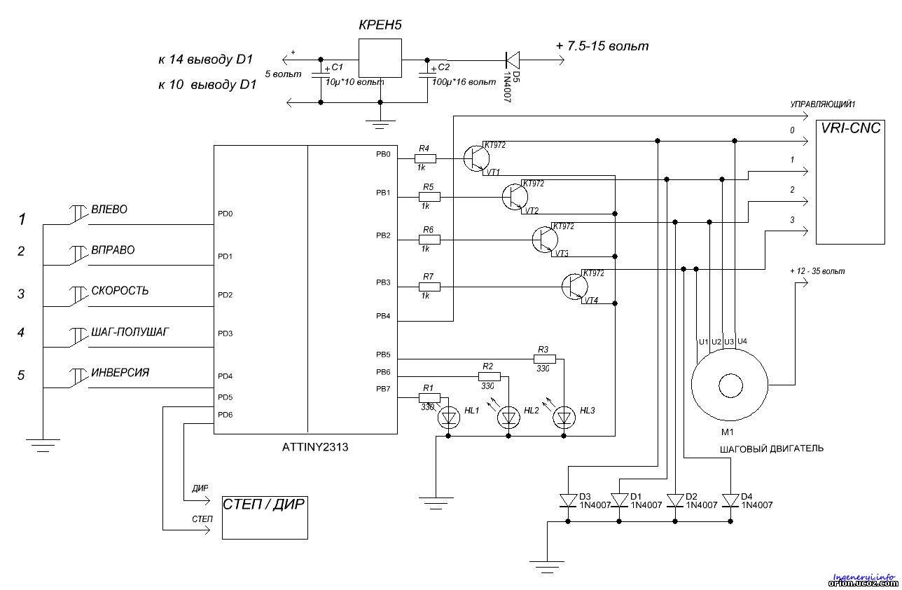 Шаговый двигатель и контроллер шагового двигателя