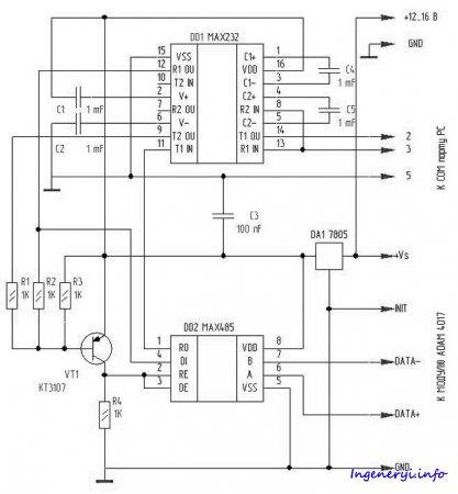 Преобразователь RS232 - RS485