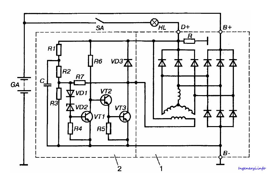 Регулятор напряжения генератора схема фото 938